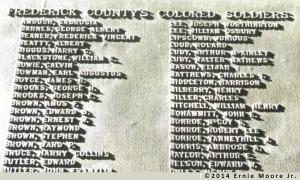 monument plaque to honor Frederick county Maryland Colored Soldiers listing names photo digital E M J